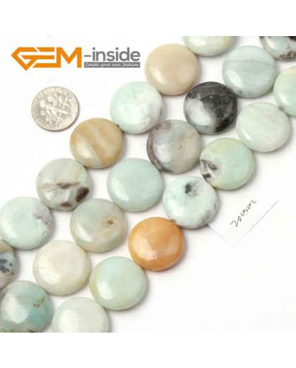 "G9029 Mixed color Natural Amazonite 20mm Coin Stone Beads strand 15"" Free Shipping Natural Stone Beads for Jewelry Making Wholesale"