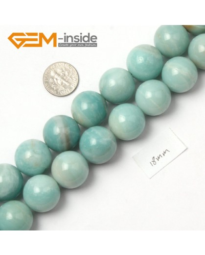 "G9045 18mm Round Smooth Blue Gemstone Amazonite Beads Strand 15"" Natural Stone Beads for Jewelry Making Wholesale"