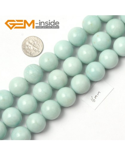 "G9046 16mm Round Smooth Blue Green Gemstone Amazonite Beads Strand 15"" Natural Stone Beads for Jewelry Making Wholesale"