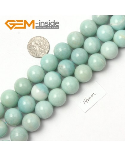 "G9047 14mm Round Smooth Blue Green Gemstone Amazonite Beads Strand 15"" Natural Stone Beads for Jewelry Making Wholesale"