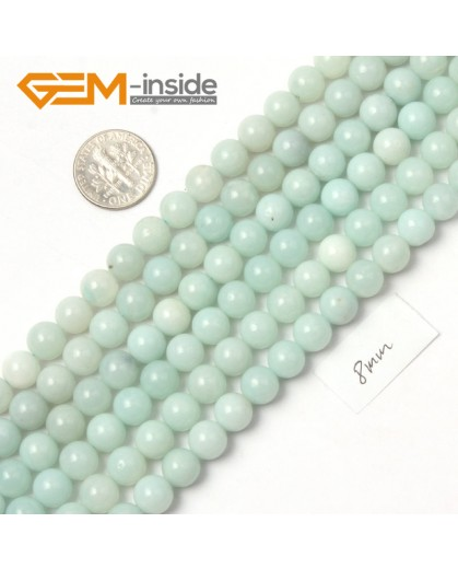 "G9050 8mm Round Smooth Green Blue Gemstone Amazonite Beads Strand 15"" Natural Stone Beads for Jewelry Making Wholesale"