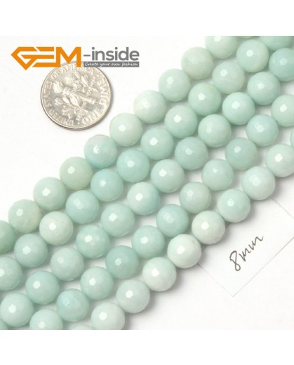 "G9058 8mm Natural Round Faceted Blue Green Amazonite Jewellery Making Gemstone Beads 15"" Natural Stone Beads for Jewelry Making Wholesale"