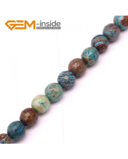 "G9222 6mm Round Faceted Dyed Blue Brown Crazy Lace Agate Beads Jewellery Making Loose Beads15"" Natural Stone Beads for Jewelry Making Wholesale"