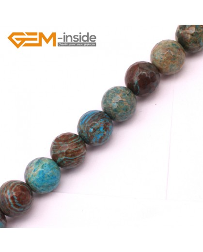 "G9223 8mm Round Faceted Dyed Blue Brown Crazy Lace Agate Beads Jewellery Making Loose Beads15"" Natural Stone Beads for Jewelry Making Wholesale"