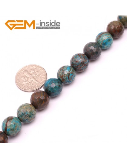"G9224 10mm Round Faceted Dyed Blue Brown Crazy Lace Agate Beads Jewellery Making Loose Beads15"" Natural Stone Beads for Jewelry Making Wholesale"