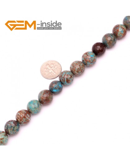 "G9225 12mm Round Faceted Dyed Blue Brown Crazy Lace Agate Beads Jewellery Making Loose Beads15"" Natural Stone Beads for Jewelry Making Wholesale"
