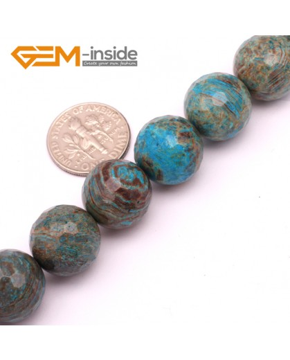 "G9226 14mm Round Faceted Dyed Blue Brown Crazy Lace Agate Beads Jewellery Making Loose Beads15"" Natural Stone Beads for Jewelry Making Wholesale"