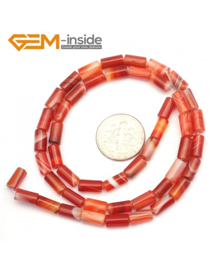 """G9306 4x8mm/Smooth/Red Banded Column Frosted Agate Loose Beads Jewelry Making Beads Strand 15"""" Free Shipping Natural Stone Beads for Jewelry Making Wholesale"""