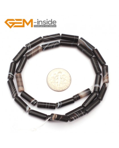 "G9307 4x12mm/Smooth/Black Banded Column Frosted Agate Loose Beads Jewelry Making Beads Strand 15"" Free Shipping Natural Stone Beads for Jewelry Making Wholesale"