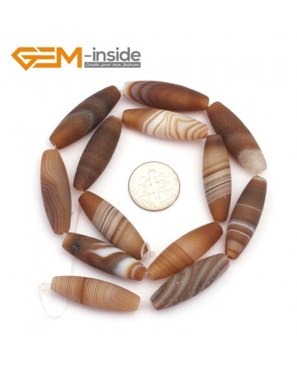 "G9310 10x30mm Olivary Frosted Botswana Agate Loose Beads Strand 15""Free Shipping Natural Stone Beads for Jewelry Making Wholesale"
