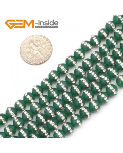 "G9348 6mm/Green New Arrivals Round Agate Gemstone Loose Beads with Rhinestones 15""Free Shipping Natural Stone Beads for Jewelry Making Wholesale"