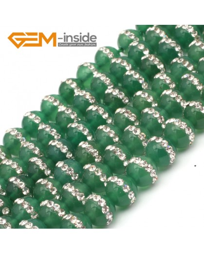 "G9349 8mm/Green New Arrivals Round Agate Gemstone Loose Beads with Rhinestones 15""Free Shipping Natural Stone Beads for Jewelry Making Wholesale"