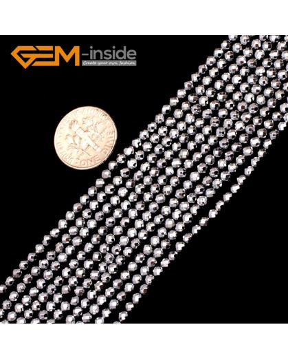 """G9559 3mm Round Sliver Faceted Hematite Beads Jewellery Making Gemstone Loose Beads 15"""" Natural Stone Beads for Jewelry Making Wholesale"""
