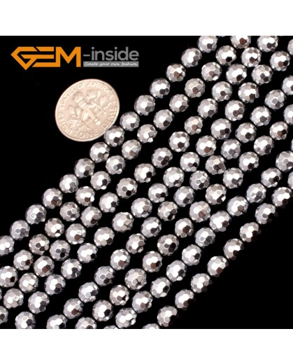 """G9561 6mm Round Sliver Faceted Hematite Beads Jewellery Making Gemstone Loose Beads 15"""" Natural Stone Beads for Jewelry Making Wholesale"""