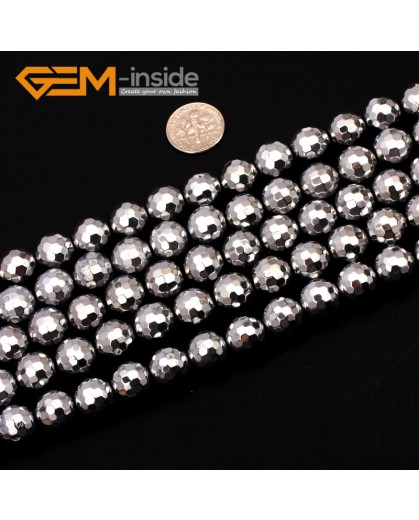 "G9564 12mm Round Sliver Faceted Hematite Beads Jewellery Making Gemstone Loose Beads 15"" Natural Stone Beads for Jewelry Making Wholesale"