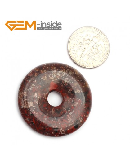 G9642 Flower Red Jasper (30mm) Natural Ring Lucky Buckle Beads For Earrings and Pendants 1 pcs 30 40 50mm Pick Pendants Fashion Jewelry Jewellery