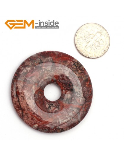 G9646 Flower Red Jasper(40mm) Natural Ring Lucky Buckle Beads For Earrings and Pendants 1 pcs 30 40 50mm Pick Pendants Fashion Jewelry Jewellery