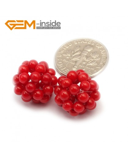 G9653 12mm Red Coral Ball Beads 2 Pcs Stone Beads for Jewelry Making Wholesale DIY