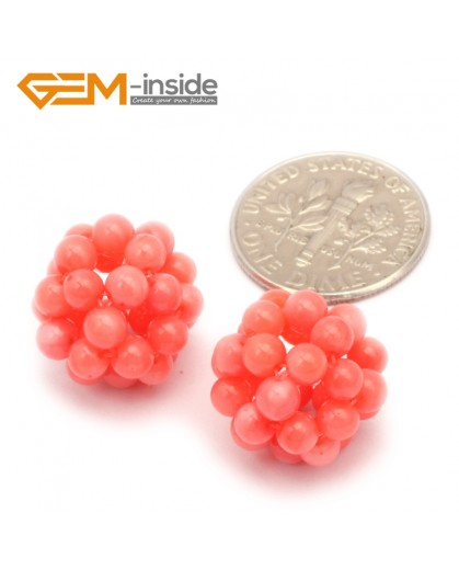 G9655 12mm Pink Coral Round Ball  2 Pcs Stone Beads for Jewelry Making Wholesale DIY