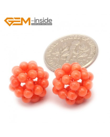 G9656 12mm Orange Coral Round Ball 2 Pcs Stone Beads for Jewelry Making Wholesale DIY