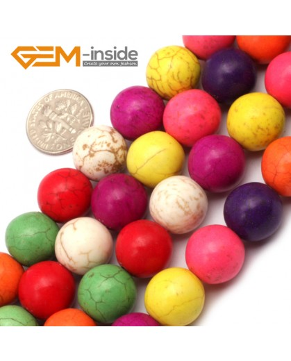 "G9660 14mm Round Multi-Color Howlite Stone Beads Dyed Color 15"" Stone Beads for Jewelry Making Wholesale"