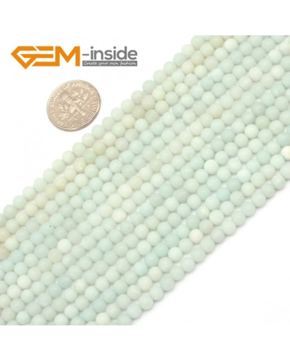 "G9661 4mm Blue Round Frost  Amazonite Gemstone DIY Loose Beads Strand 15""  Natural Stone Beads for Jewelry Making Wholesale"