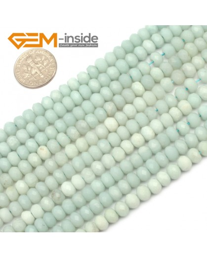 "G9663 4x6mm Faceted Rondelle Natural Green Amazonite Stone Gemstone Beads Strand 15"" Natural Stone Beads for Jewelry Making Wholesale"
