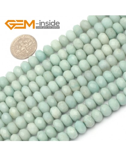 "G9664 6x8mm Faceted Rondelle Natural Green Amazonite Stone Gemstone Beads Strand 15"" Natural Stone Beads for Jewelry Making Wholesale"