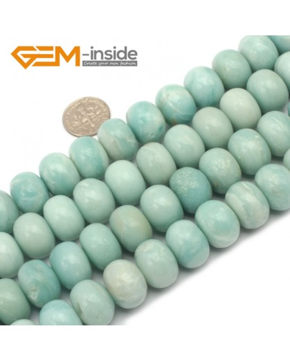 "G9665 12x16mm Rondelle Natural Green Amazonite Gemstone Stone Beads Strand 15"" Natural Stone Beads for Jewelry Making Wholesale"