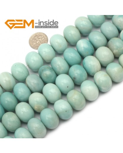 "G9666 13x18mm Rondelle Natural Green Amazonite Stone Gemstone Beads Strand 15"" Natural Stone Beads for Jewelry Making Wholesale"