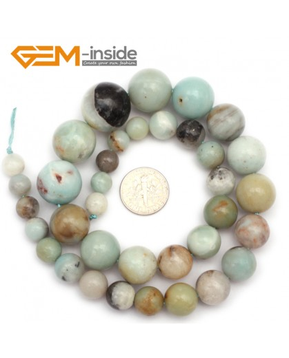 "G9677 8-18mm Multicolor Round Graduated Amazonite Stone Beads 15"" Natural Stone Beads for Jewelry Making Wholesale"