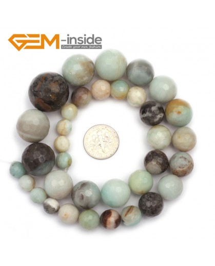 "G9679 8-20mm Multicolor Faceted Round Graduated Natural Amazonite Stone Beads 15"" Natural Stone Beads for Jewelry Making Wholesale"