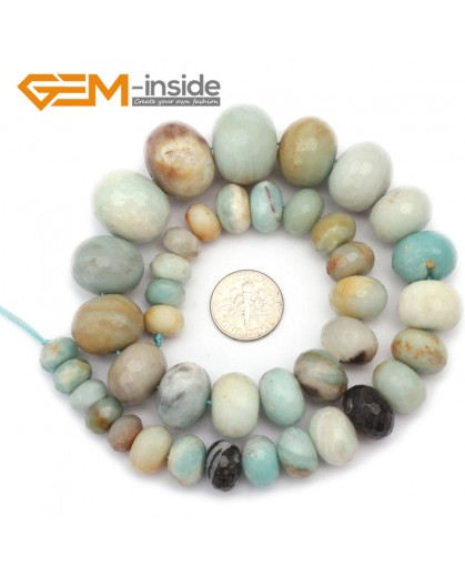 "G9680 8-18mm Multicolor Rondelle Faceted Graduated Natural Amazonite Stone Beads 15"" Natural Stone Beads for Jewelry Making Wholesale"