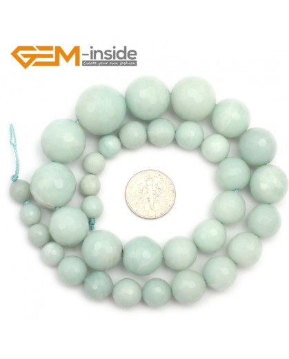"G9681 8-18mm Faceted Graduated Natural Green Amazonite Beads Strand 15"" Natural Stone Beads for Jewelry Making Wholesale"
