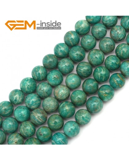 "G9682 12mm Round Gemstone Natural Blue Russia Amazonite Stone Beads Strand 15"" Natural Stone Beads for Jewelry Making Wholesale"