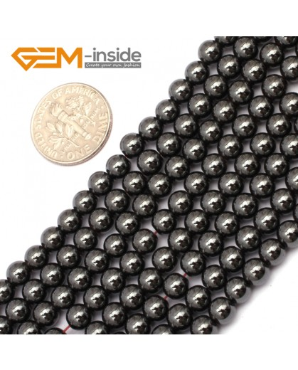"G9684 5mm Round Magnetic Black Hematite Stone Strand 15"" Natural Stone Beads for Jewelry Making Wholesale"