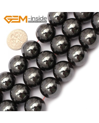 "G9685 16mm Round Magnetic Black Hematite Stone Strand 15"" Natural Stone Beads for Jewelry Making Wholesale"