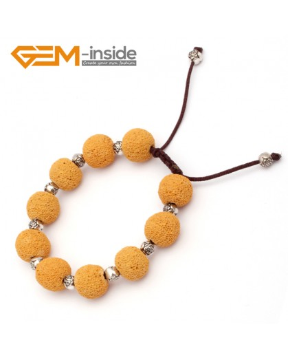 "G9734 Yellow Lava Rock Handmade Beads Bracelet Adjustable Bracelet 7-8.5""  Fashion Jewelry Jewellery Bracelets for women"