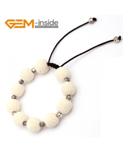 "G9735 White Lava Rock Handmade Beads Bracelet Beads Adjustable Bracelet 7-8.5""  Fashion Jewelry Jewellery Bracelets for women"