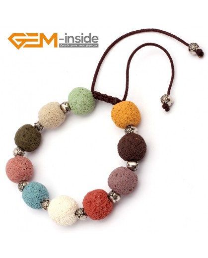 "G9737 Muti-Color Lava Rock Handmade Bead Bracelet Adjustable Bracelet 7-8.5""  Fashion Jewelry Jewellery Bracelets for women"