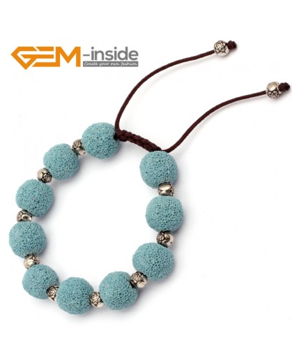 "G9739 Blue Lava Rock Handmade Beads Bracelet Adjustable Bracelet 7-8.5""  Fashion Jewelry Jewellery Bracelets for women"