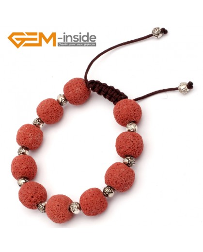 "G9740 Dark Red Lava Rock Handmade Bead Bracelet Adjustable Bracelet 7-8.5""  Fashion Jewelry Jewellery Bracelets for women"