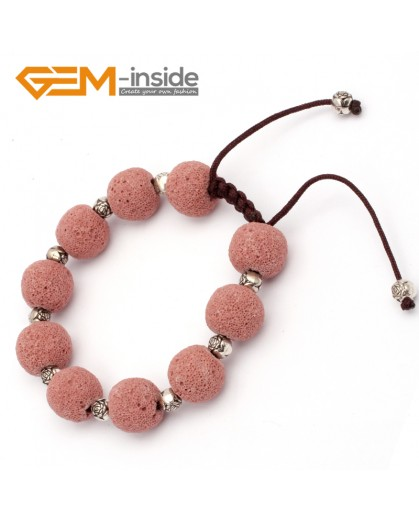 "G9742 Light Red Lava Rock Handmade Beads Bracelet Adjustable Bracelet 7-8.5""  Fashion Jewelry Jewellery Bracelets for women"