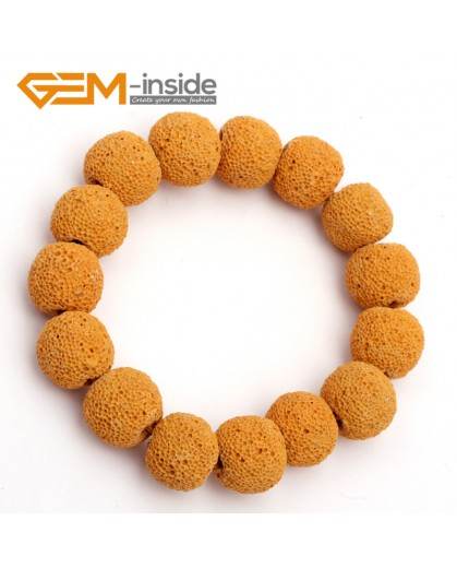 "G9745 Yellow Lava Rock Handmade Beads Stretch Adjustable Bracelet 7-8.5""  Fashion Jewelry Jewellery Bracelets for women"