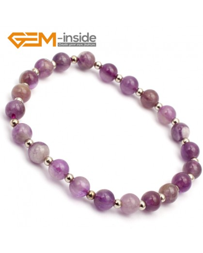 "G9766 6mm (With Spacer Beads) Round Natural Dream Lace Amethyst Stretch & Adjustable Bracelet 7 1/2"" Cute Box Fashion Jewelry Jewellery Bracelets for women"
