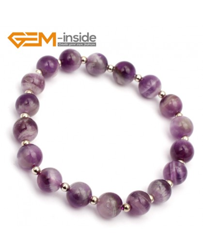 "G9768 8mm (With Spacer Beads) Round Natural Dream Lace Amethyst Stretch & Adjustable Bracelet 7 1/2"" Cute Box Fashion Jewelry Jewellery Bracelets for women"
