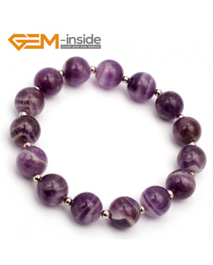 "G9770 10mm (With Spacer Beads) Round Natural Dream Lace Amethyst Stretch & Adjustable Bracelet 7 1/2"" Cute Box Fashion Jewelry Jewellery Bracelets for women"