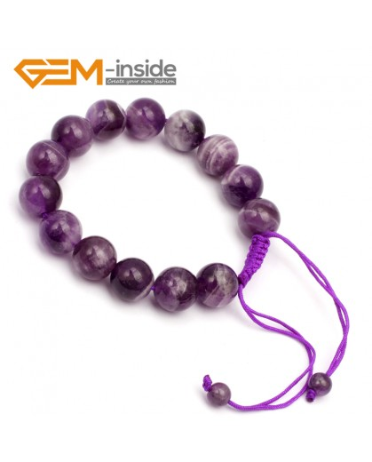 "G9772 12mm (Adjustable) Round Natural Dream Lace Amethyst Stretch & Adjustable Bracelet 7 1/2"" Cute Box Fashion Jewelry Jewellery Bracelets for women"