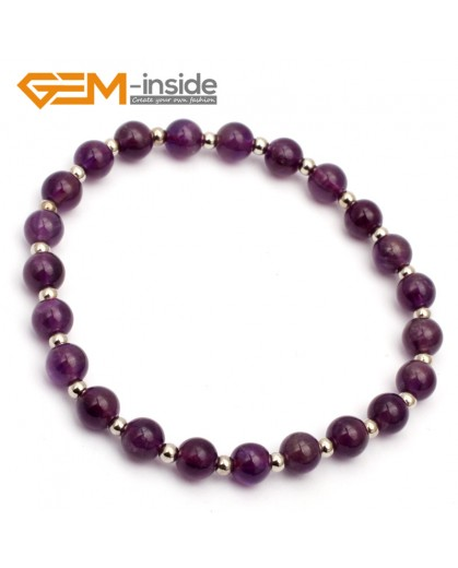 "G9776 6mm (With Spacer Beads) Natural Round Dark Purple Amethyst Bracelet Stretch & Adjustable Bracelet 7.5"" Fashion Jewelry Jewellery Bracelets for women"
