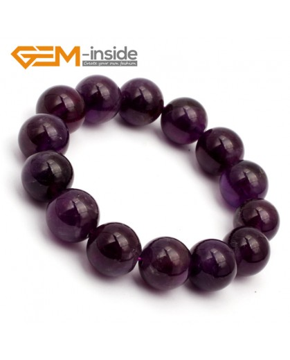 "G9785 14mm Natural Round Dark Purple Amethyst Bracelet Stretch& Adjustable Bracelet 7.5"" Fashion Jewelry Jewellery Bracelets for women"